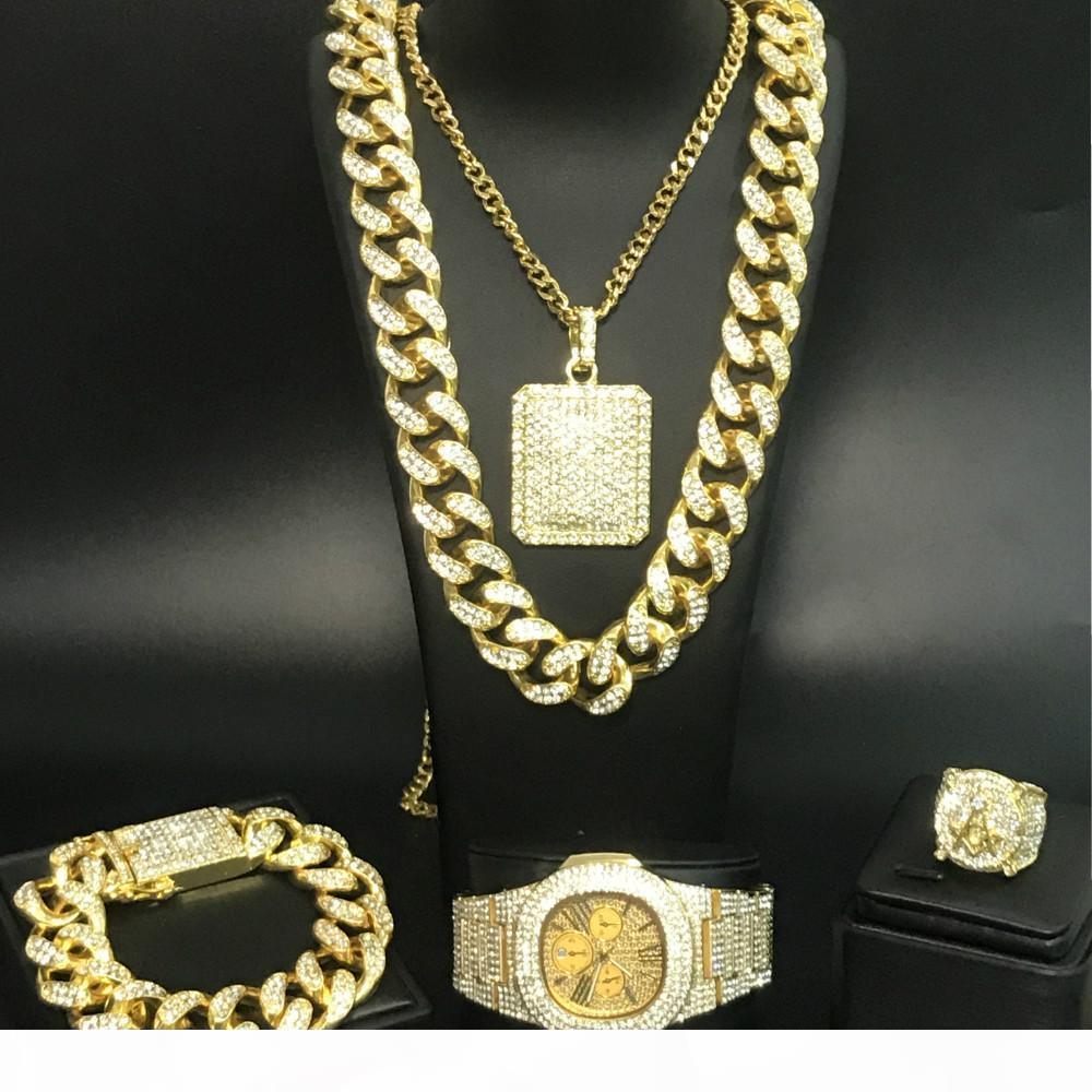 Luxuxmänner Uhr Hip Hop Männer Goldhalsketten-Armband-Uhr-Ring-Out Cuban-Schmuck-Set
