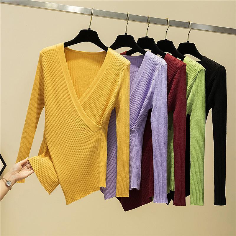 Irregular Sexy V-Neck manga comprida Pullover camisola de malha Mulheres 2020 Inverno Camisolas Chic Knitwear coreano roupas de mulher cair