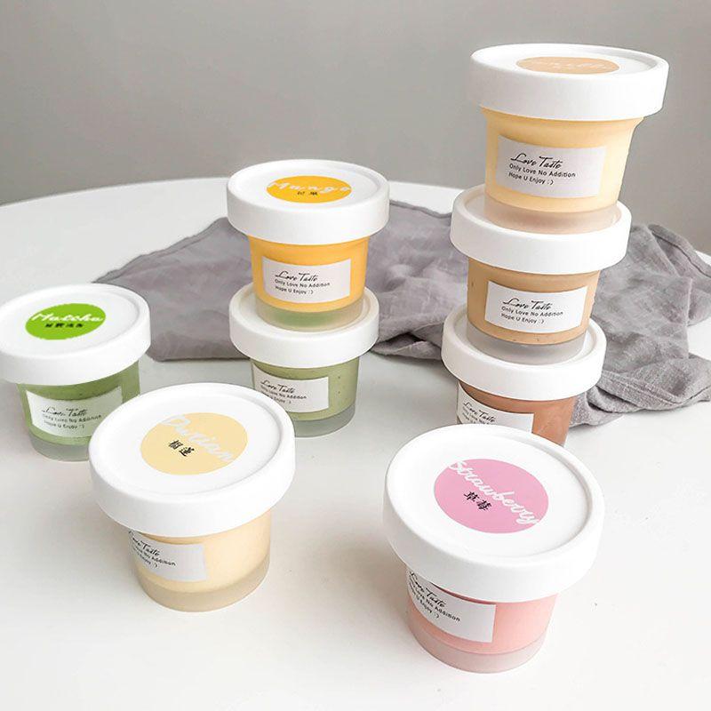 100ML Frosted Weiß Ice Cream Cup mit Deckel-Pudding-Kuchen-Gelee Dessert Bakeware Verpackung Cup Boxen