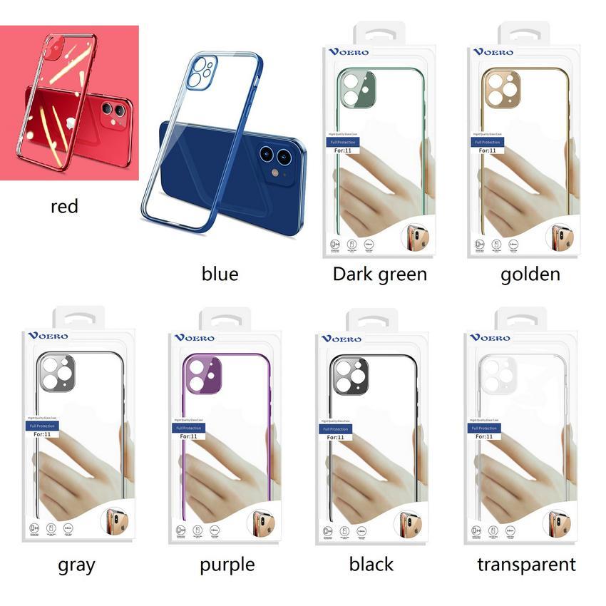 2021 novo caso transparente do telefone móvel eletrodométrico caixa macia anti-outono caso protetora para iPhone 12, 11, Pro e mais modelo