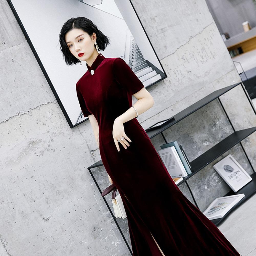 Spring and autumn skirt cheongsam skirt single layer velvet cheongsam dress in 2020 iGM2K