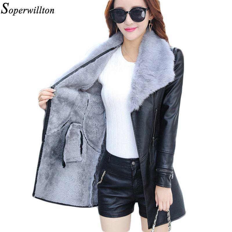 Leather Jacket Women Suede Coat Female Winter Long Sleeve Faux Leather Coat Motorcycle Fur Jacket Ladies PU Plus Size PR9 201016