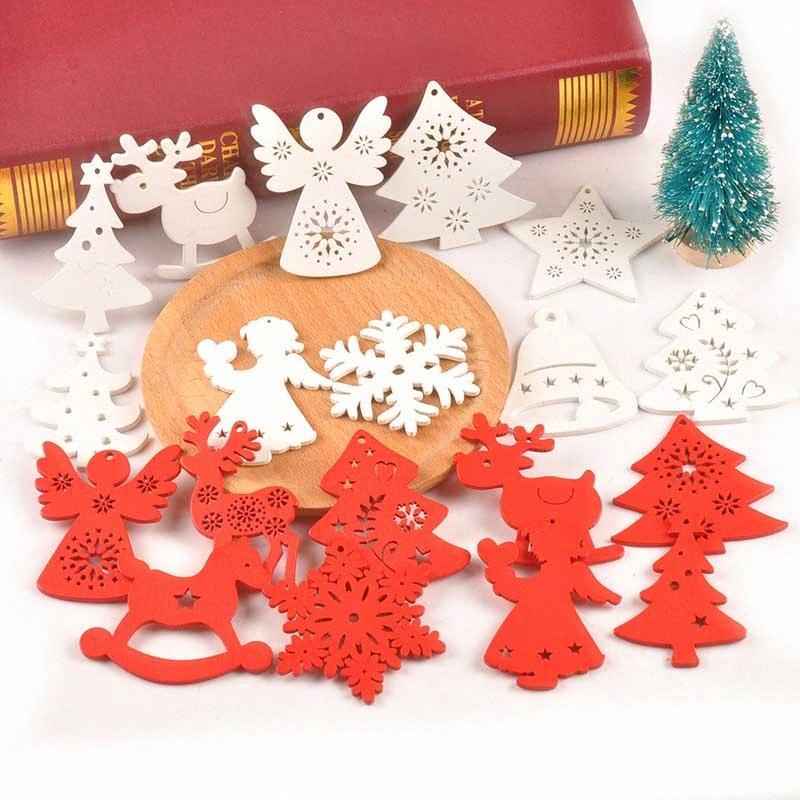 50Pcs Neujahr Weihnachtsbaum-Schnee-Elch-Form Holz DIY Fertigkeit für Hauptdekor aus Holz hängende Anhänger Scrapbooking Verzierung M2505 SEX2 #