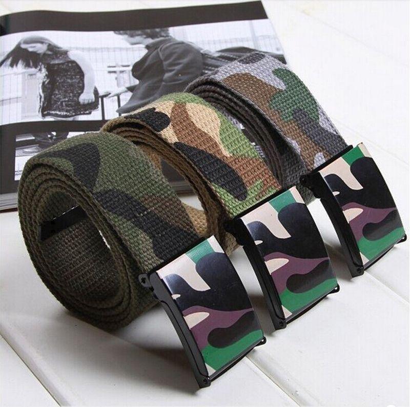 Neue Männer Frauen Soldat Leinwand Mode Durable beiläufige Militärstil Nylon Camouflage-Print-Gurt-Bügel PVC-Kunststoff-Schnalle