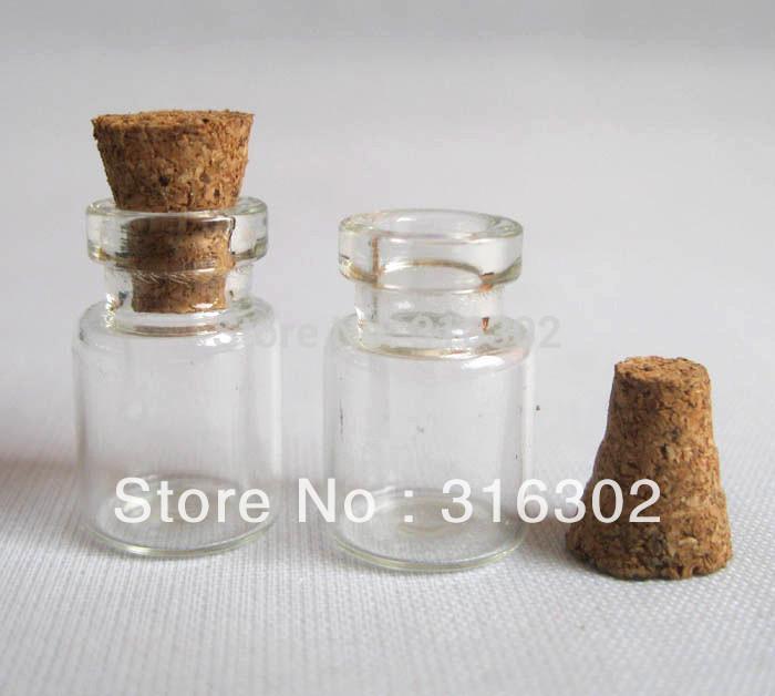 500 x 0.6ml Mini szklana butelka z drewnianą korek próbki szklane szklane fiolki Wishing Bottle1ml, 2 ml do 300 ml