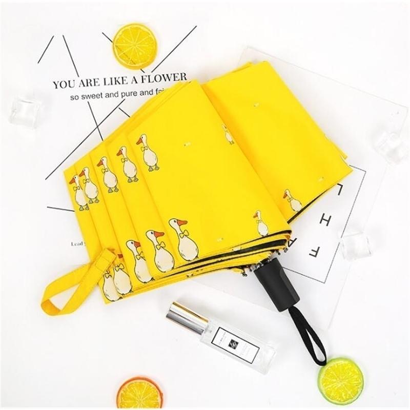 TECHOME Windproof Women Yellow Fold Umbrellas Female Rainy Sunny Parasol Lovely Animal Umbrella 201218
