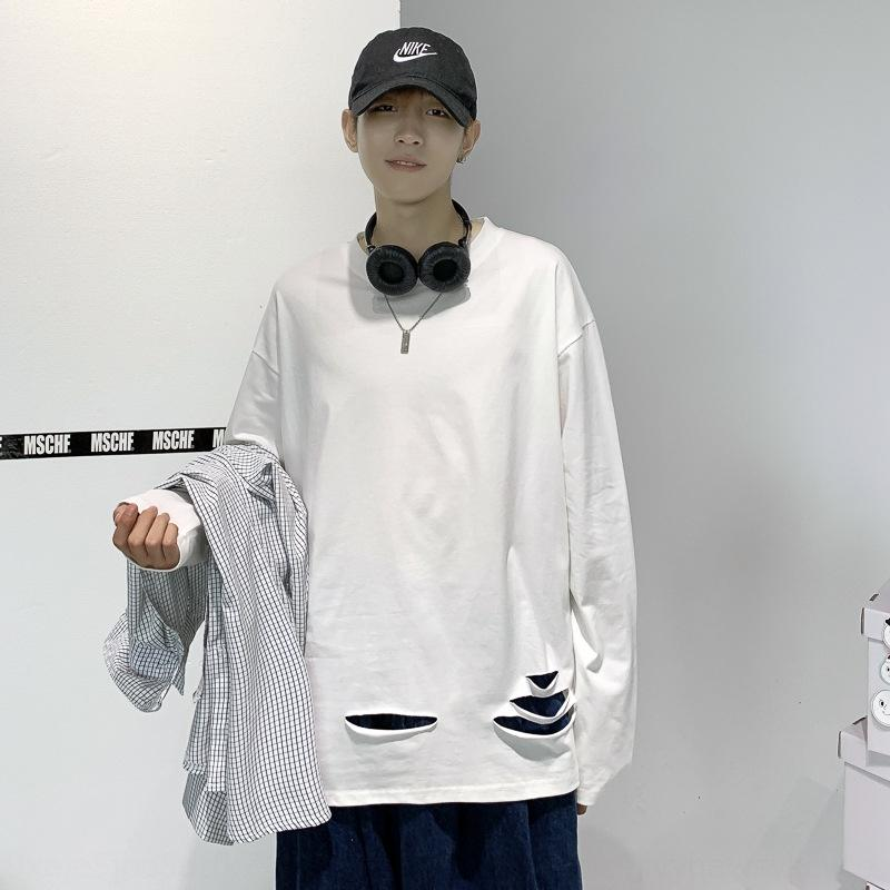 20 otoño orificio lateral única puro algodón 230g estudiante de la manga larga de la camisa fondo Top T- T grande la camisa ocasional flojo superior SeFiF