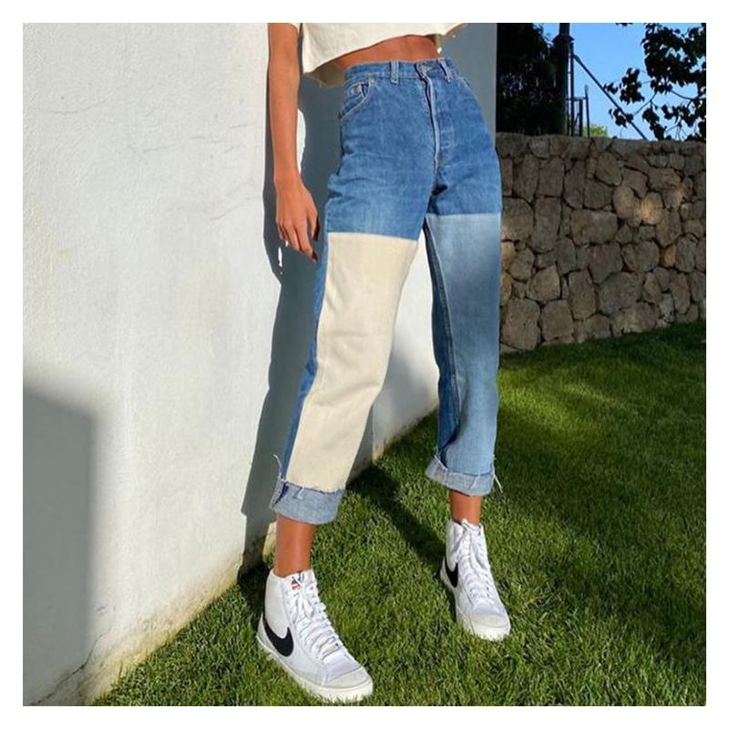 Women Loose Jeans Patchwork Jeans Washed Stitching Contrast Color Female Trousers Fashion New Dress Trousers Denim Pants