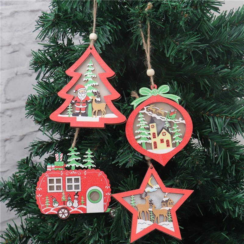 Natale illuminato ornamento in legno Hollow wooden glitter ciondolo albero natale albero automobile albero a forma di stella a forma di stella con luce LED DHB2724