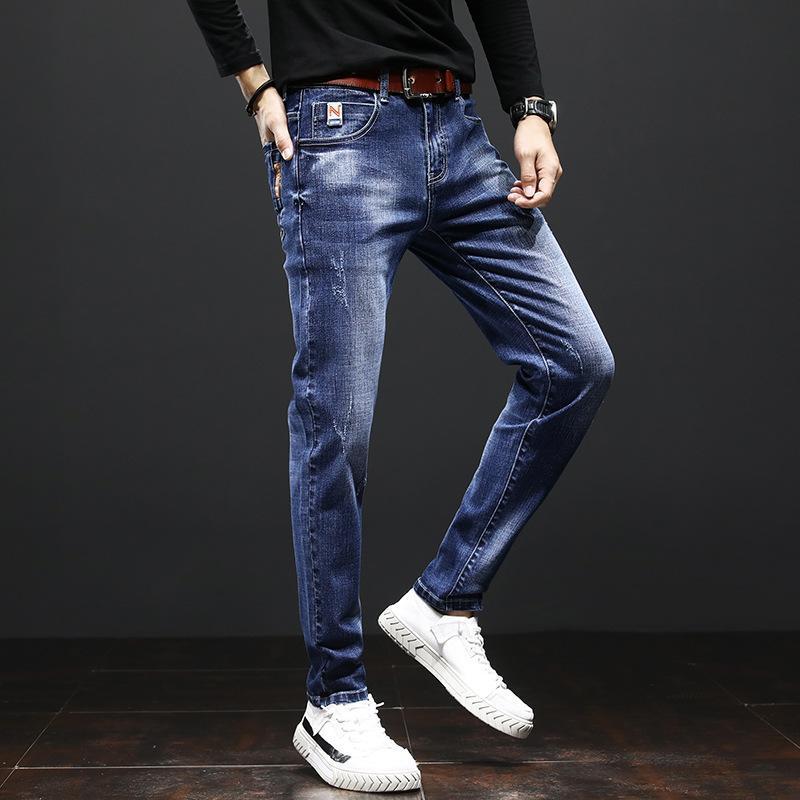 Мужские джинсы 2020 тонкие ноги разорванные дыры дикие карандаш брюки весенние осень корейский модный подростки узкие джинсы мужские мужские брюки