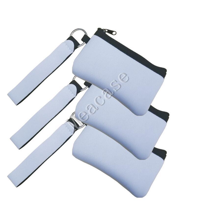 Sublimação DIY impressão em branco Titular ID transferência de calor impressão Neoprene Mini Coin Purse multifuncional Wristlet Carteiras Bolsas F102306