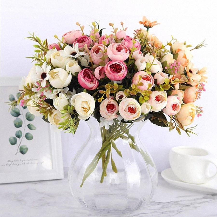 Xmas Party Bouquet noiva de seda DIY Daisy Camellia flores artificiais pequeno Rose Decor Faux Falso flores do casamento Decoração 9jvp #