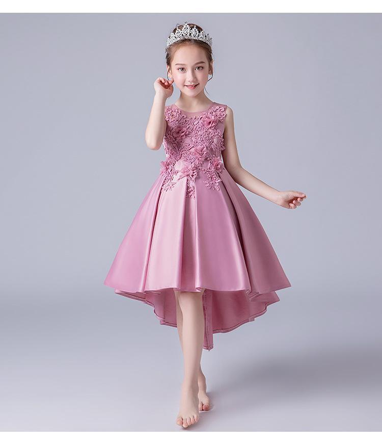 Dziewczyna Suknie Dzieci Spódnicy Modele Bez Rękawów Girls Puffy Dress Dress Princess Trailing Party Wedding Kids Clota