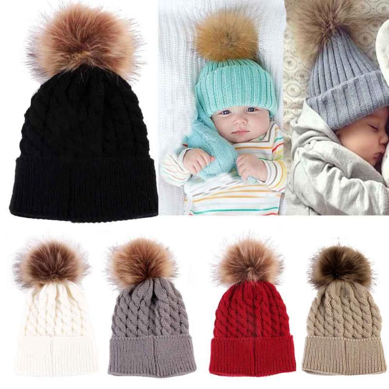 Newborn Hat Cute Winter Kids Baby Girls Boys Warm Hats Knitted Wool Hemming Hat Hairball Fur Ball Cap 0-36 Months Baby C800#