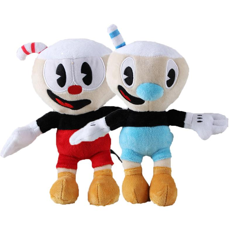 2pcs / lot 25 centímetros Adventure Game Cuphead Plush Toy Mugman The Devil Legendary cálice Plush Dolls Brinquedos para Crianças Presentes 1011