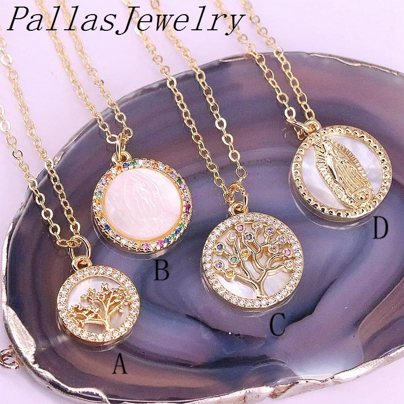 10Pcs Clear/Rainbow CZ Micro Pave Virgin Of Mary Charm Shell Pendant Necklace, Round Shaped Religious/Tree Charms 0927