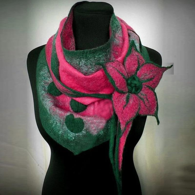 Ladies Scarf Women Vintage Floral Elegant Warm Shawls Fashion Women Scarve Printing Button Soft Wrap Streetwear Personality 201021