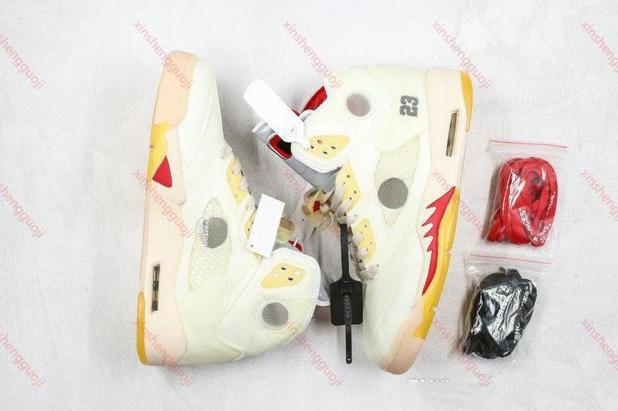 High quality Men 5s Cream Basketball Shoes Black Muslin Fire Red White 3M Reflective Metallic Sail Sports Sneakers