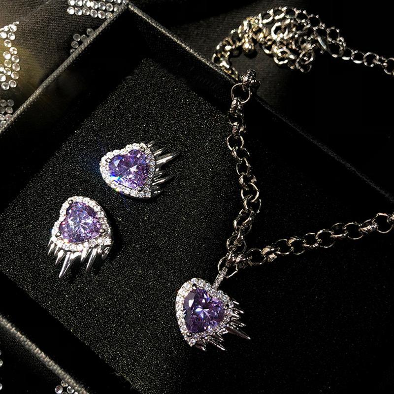 Luxe Sweet Cool Belle fille Purple Gems Pendentif Température Personnalité Sauvage 925 Silver Boucles d'oreilles Boucles d'oreilles Diamant Collier