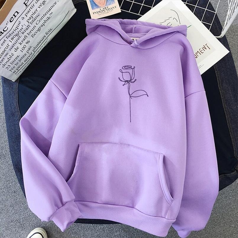 Frauen Blume gedruckt Hoodies beiläufige lose Herbst koreanische Art-langärmliges Kapuzenpulli Fleece Warm Sport Taschen Pullover