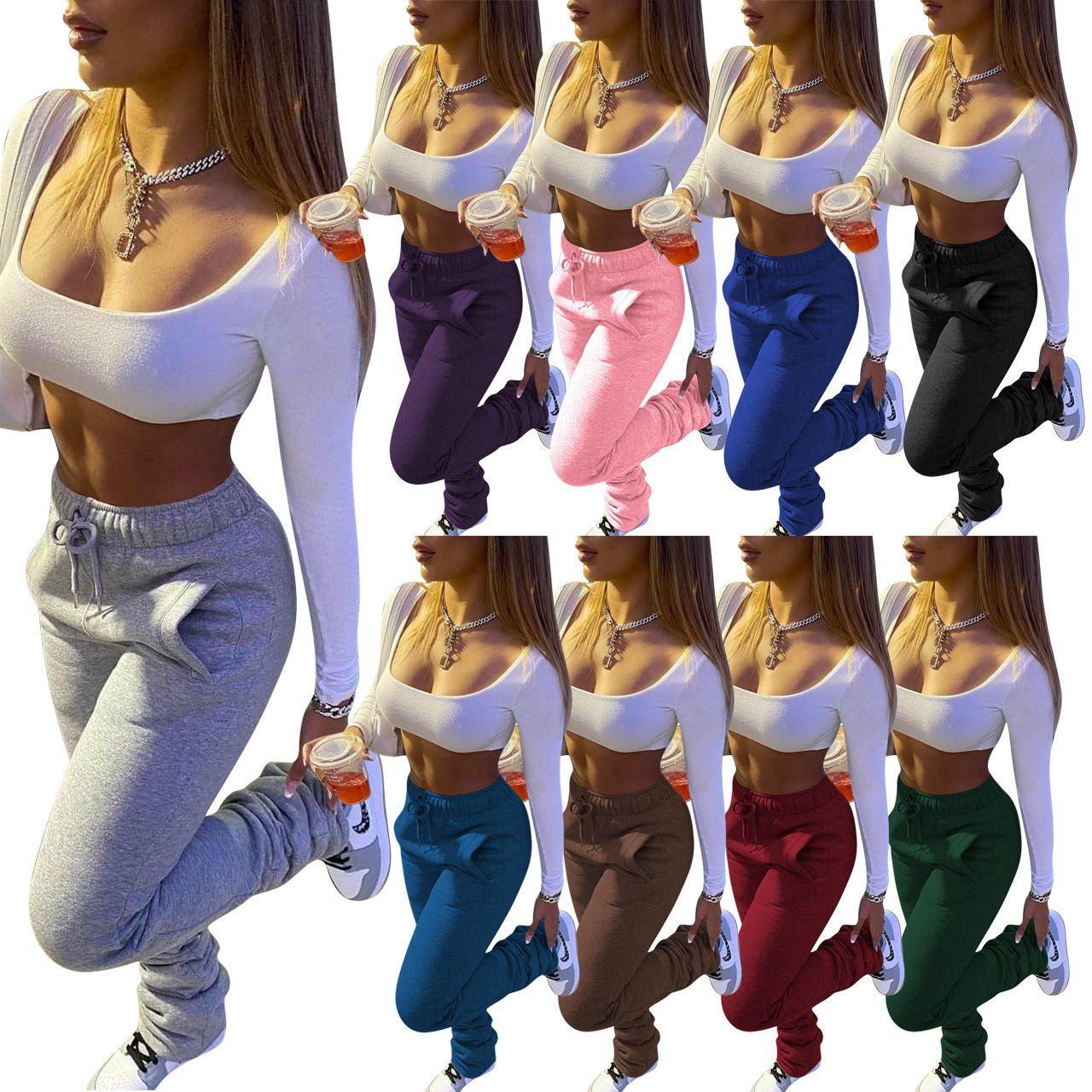 Cepler İpli Pantolon ile Casual Yeni Kadın Pantolon Moda Katı Ağır Triko Kumaş Pileli Mikro Flared Pantolon Bayan Spor