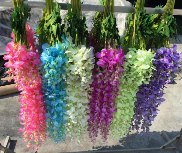 """110cm 43.3 """"Flor de glicínia artificial longa elegante 36pcs / lote Wisteria de seda flores decorativas de casamento suprimentos"""