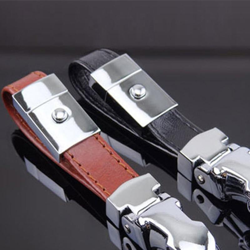 STOCKLING CAR-STOYLING TÊTE LEOPARD TÊTE En Cuir Véritable Chaîne à clé Touches Titulaire Porte-clés en métal pour Jaguar F-Pace XJ XE XF