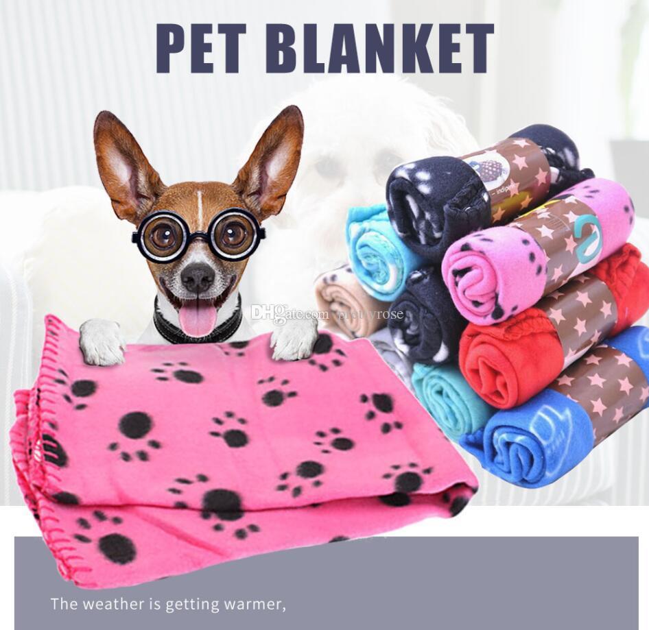 60 * 70 cm Manta mascota Pequeña PAW Imprimir Toalla Cat Dog Poil Warment Soft Warment Bluets Bats Cushion Mat Match Manta Cubierta GRATIS Envío