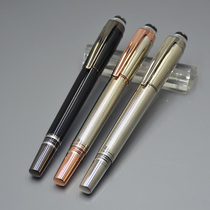 العروض الترويجية - فاخرة جديدة شقة كريستال قلم Rollerball القلم للتجهيزات PVD مطلي والأسطح المصنوعة من الماركات Monte كتابة أقلام الرول الكرة