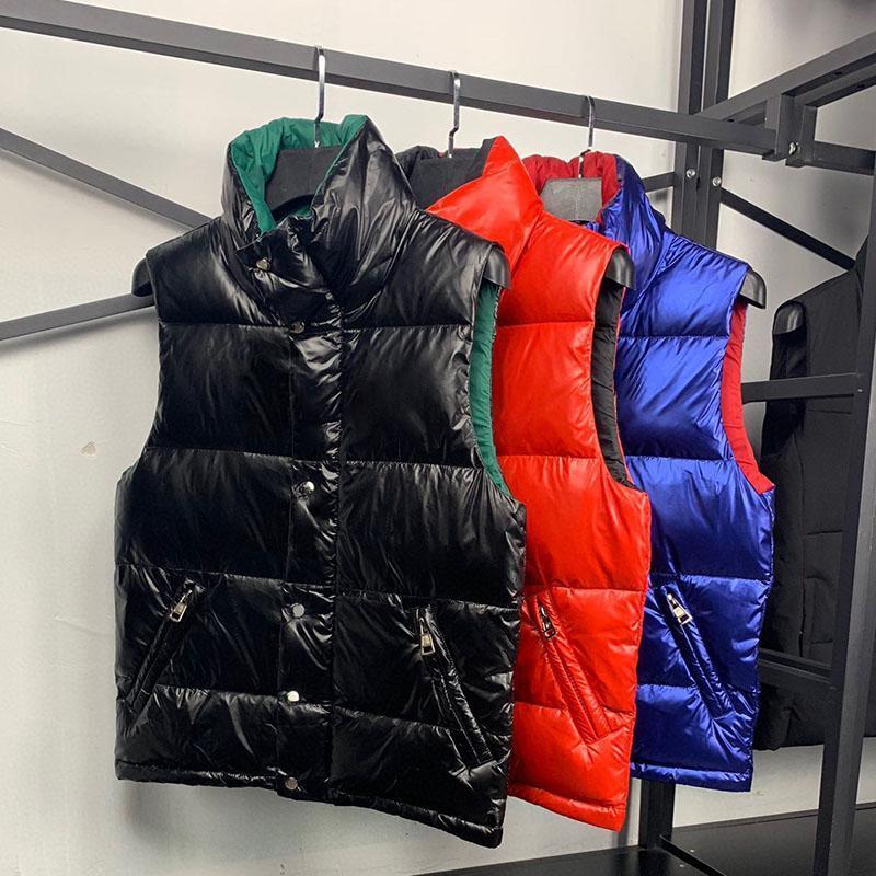 Jaqueta dos homens para baixo colete de alta qualidade homens mulheres inverno vestido quente casaco parka redondo Pescoço letra de impressão jaqueta 3 cores M-3XL