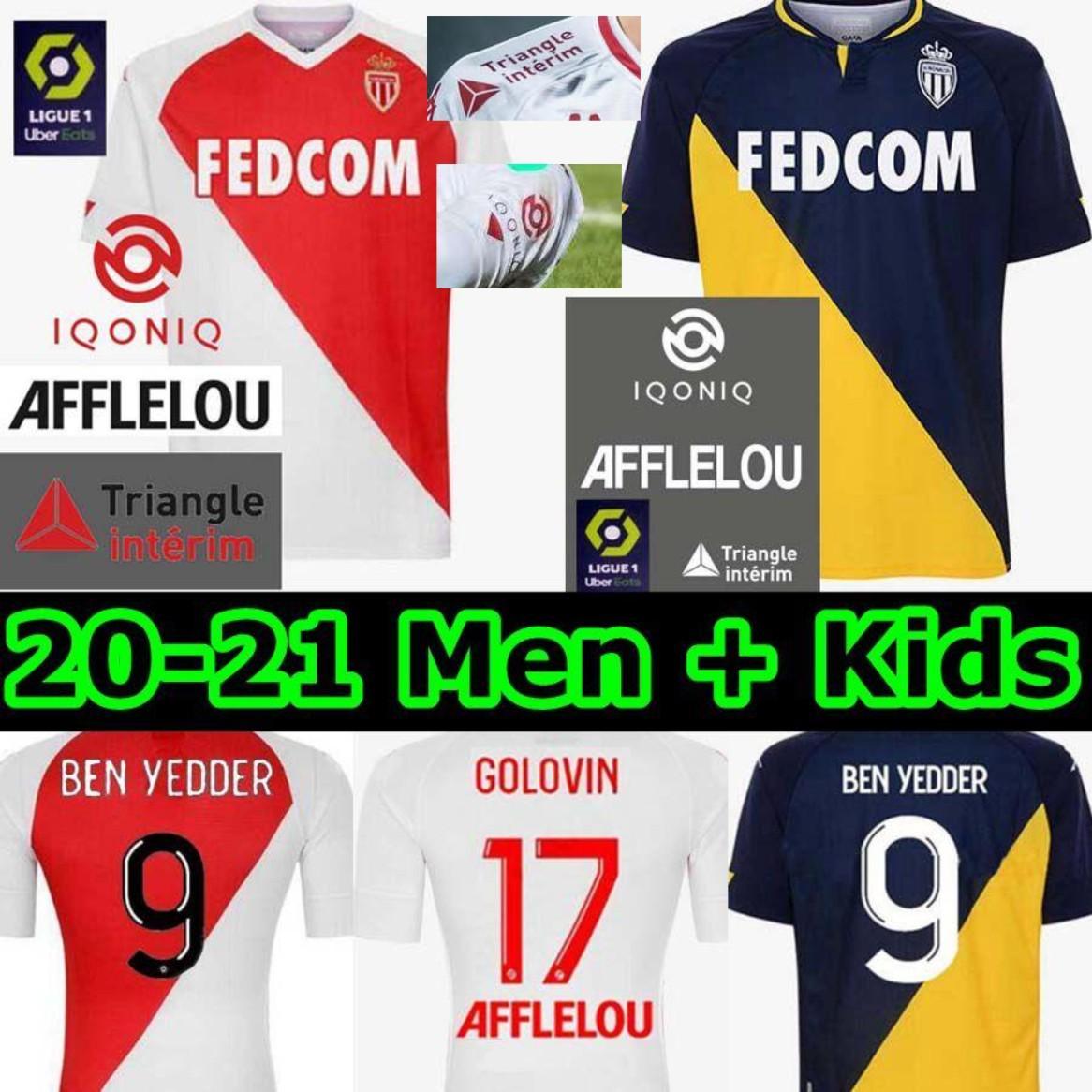 MONACO FRANCIA MILLOTS DE FOOT 20 21 AS MONACO Jerseys de fútbol Keita Balde Ben Yedder Gelson Home Weew Fabreags Golovin Hombres Camisa de fútbol