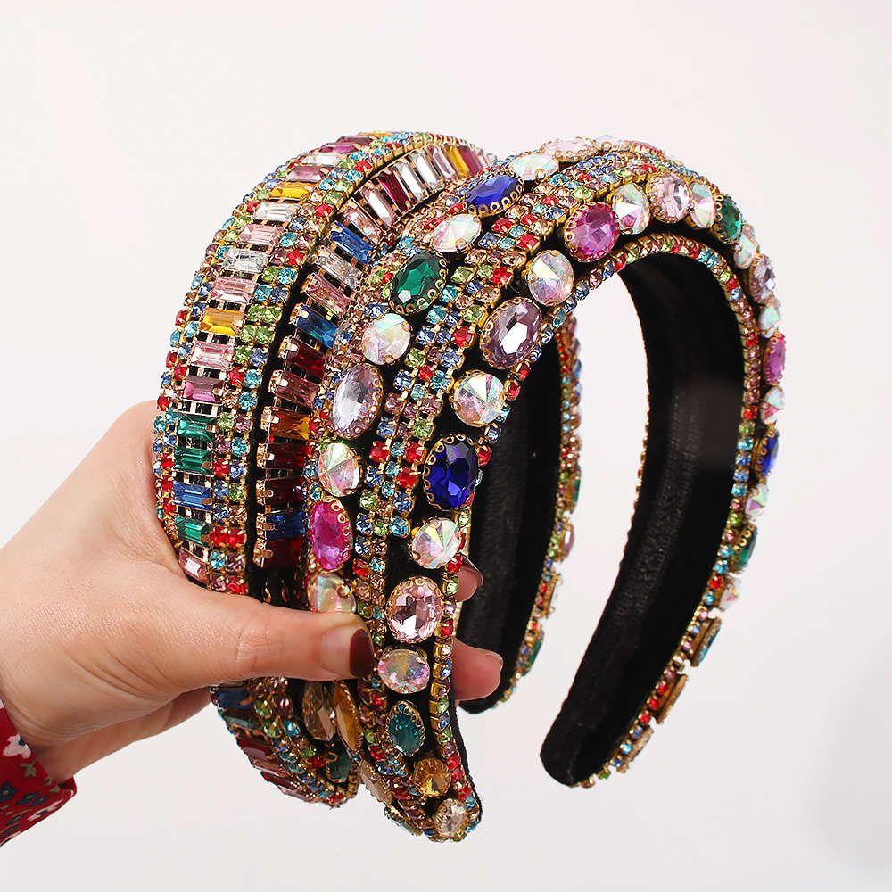 LUSSO Full Crystal Hairbands Womens Accessori per capelli Accessori Baroque Imbottito Testa Band colorato Rhinestone Fascia Principessa copricapo