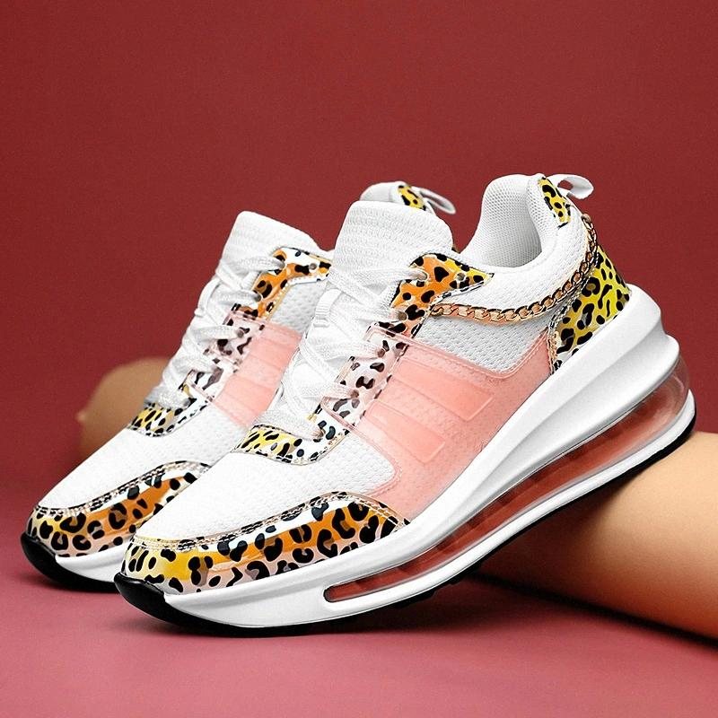 Femmes Femmes Sneakers 2020 Automne Léopard sauvage Imprimeuse Casual Sneakers Mode Coussin Sneaker Chaussures de marche Femme # 0f15
