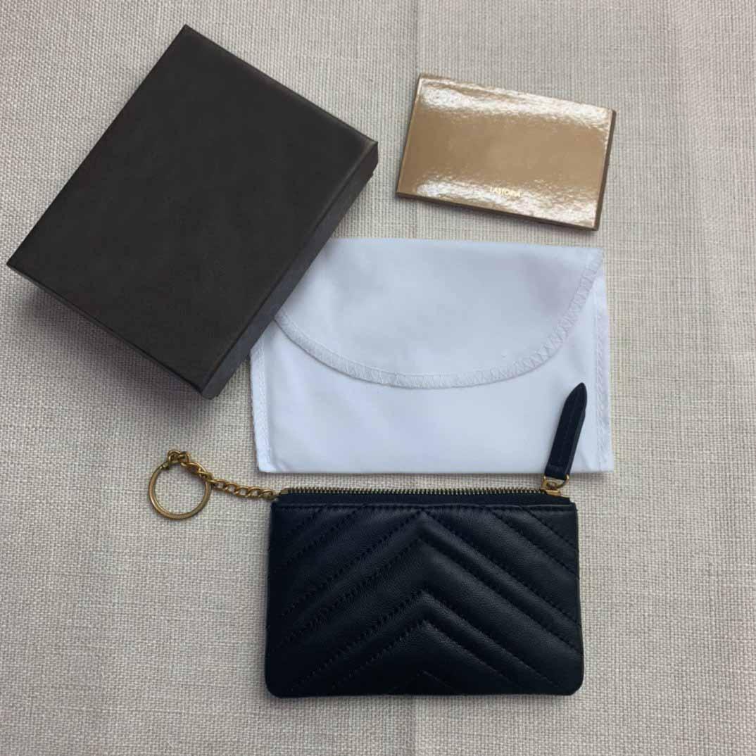 2021 Bolsa Moda Moda Cartão Carteira Carteira Pequena Mulher Designer Black Wave Chain Cadeia Zipper Suporte Purse Black Coin Luxury New Wit Oiwp
