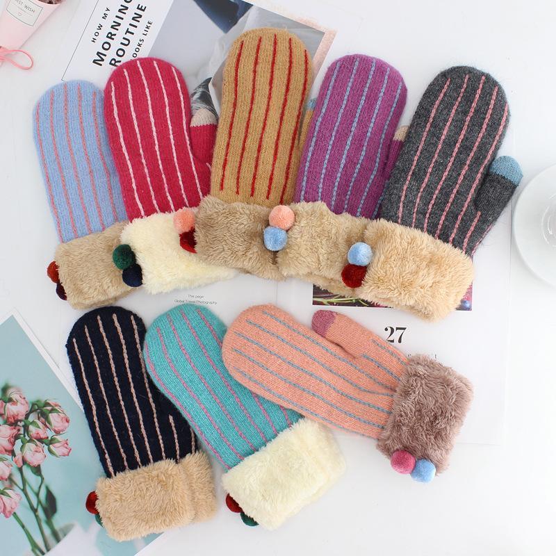 La lana de invierno Mujer Plus Cashmere el terciopelo que espesa Caliente los guantes llenos Mujeres Moda de punto Touch Screen manoplas