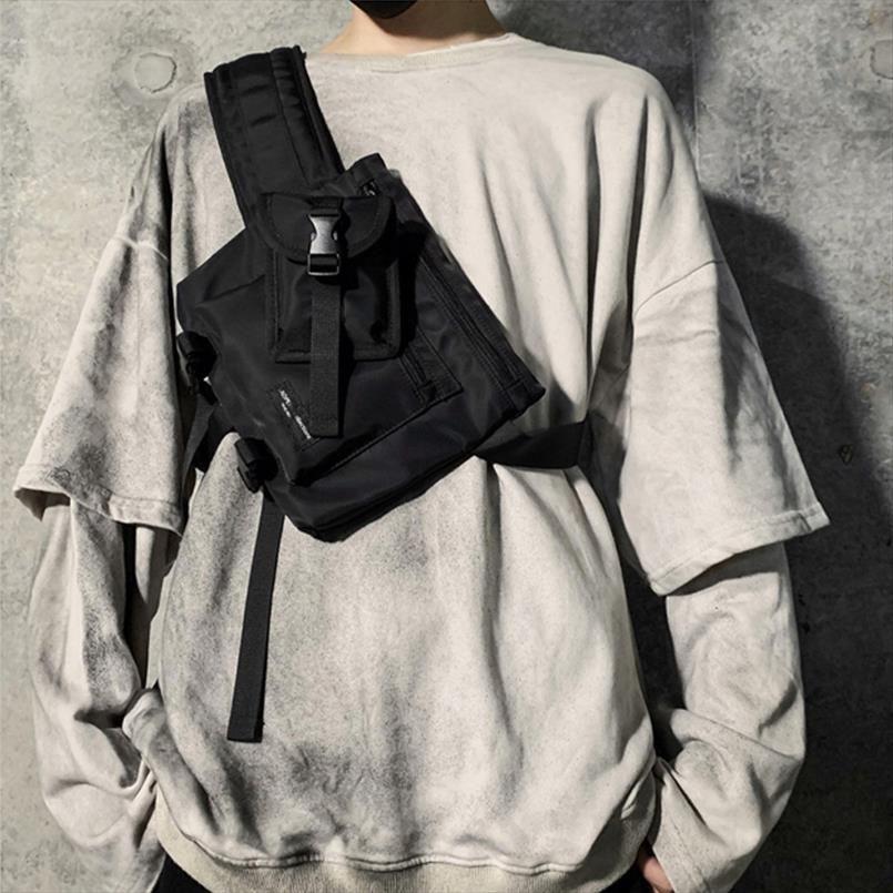 Moda multifunzione Uomini Crossbody Borse nylon impermeabile pacco petto stile di Hip Hop nero Messaggeri Shoulder Bag Streetwear 2019