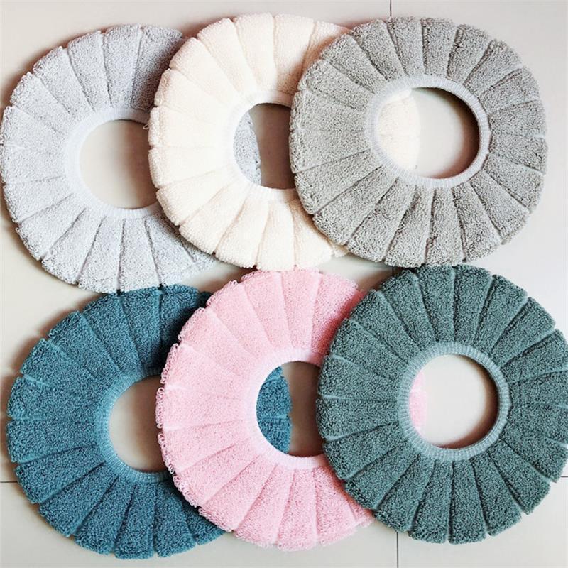 Зимнее сиденье для унитаза теплые сплошные цветные плюшевые туалетные площадки типа o ванная комната туалетные подушки аксессуары эластичные моющиеся горячей продажи 3 1Zb G2