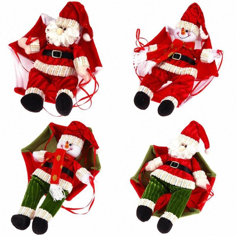 Christmas Santa Claus Snowman Parachute Pendant Xmas Tree Hanging Ornaments qyLb#
