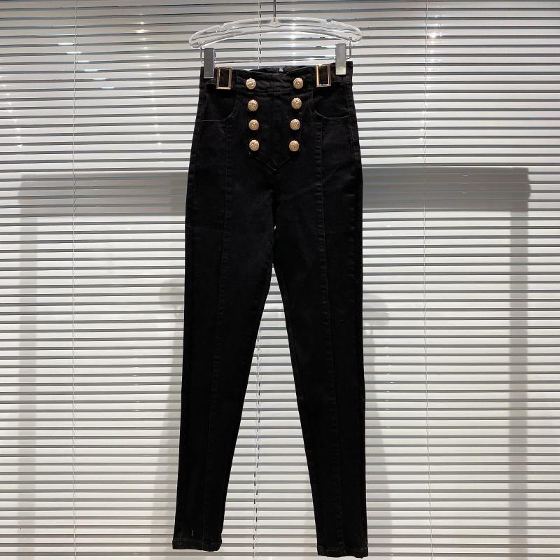 2020 Пряжка Регулировка осени новый двойной ряд металла Тонкий Fit Красивый карандаш брюки джинсы