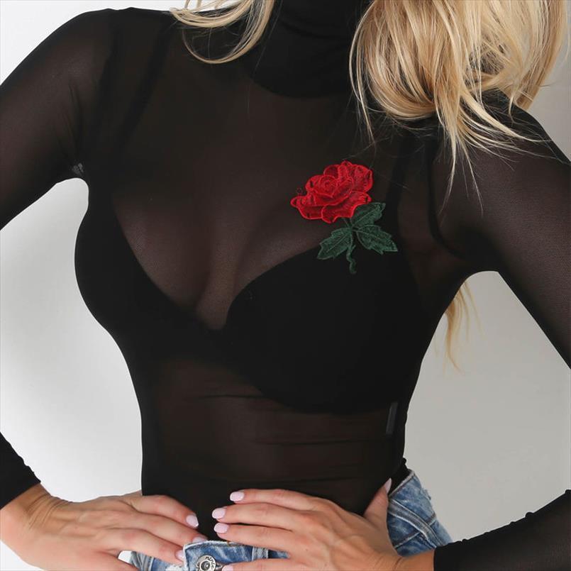 2020 novos outono mulheres senhoras manga longa blusas sensuais moda gola bordado floral malha ver através blusas topos finos