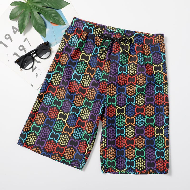 Personality Colorful Letter Printed Men Trunks Summer Outdoor Beach Board Shorts Fashion Casual Elastic Waist Pants for Male