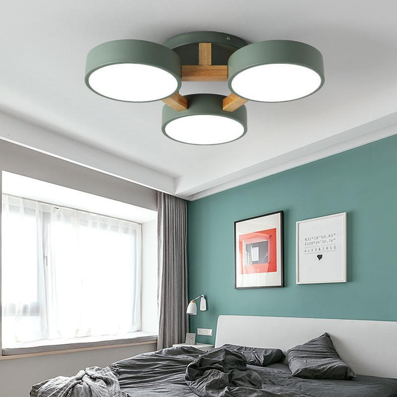 Led Ceiling Lights Modern Colorful Bedroom Ceiling Lamps Round Thin Plafondlamp Lighting Lamparas De Techo Nordic Wood LED Bulbs