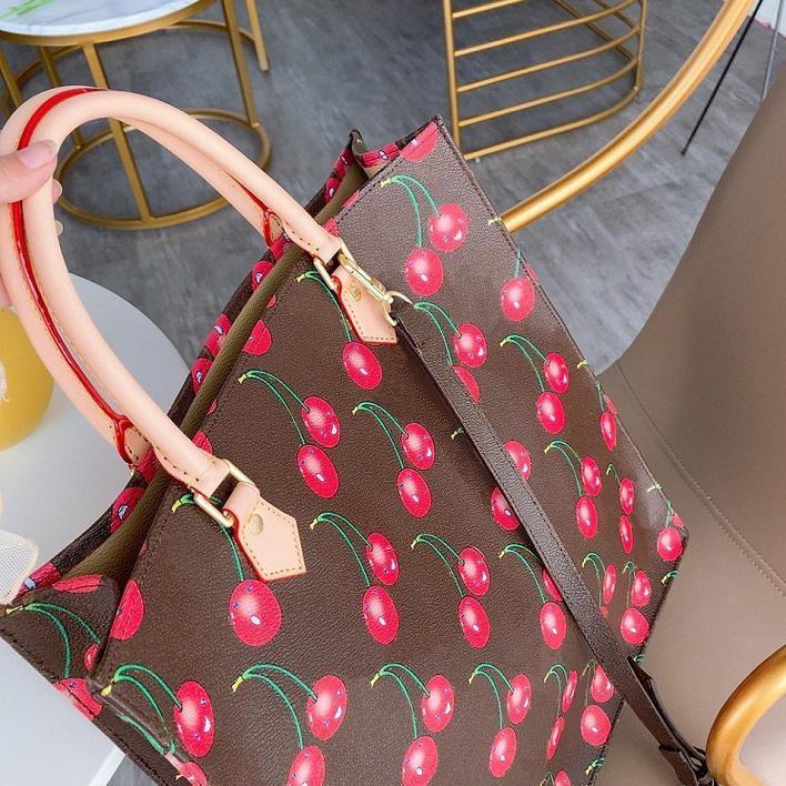 Heißer Verkauf Handtaschen Geldbörsen Designer Muster Einkaufstasche Geschenk 33 cm Lederbeste Frauen Handtasche mit Designer Brieftasche Kirsche Hristmas Schulter Weocw