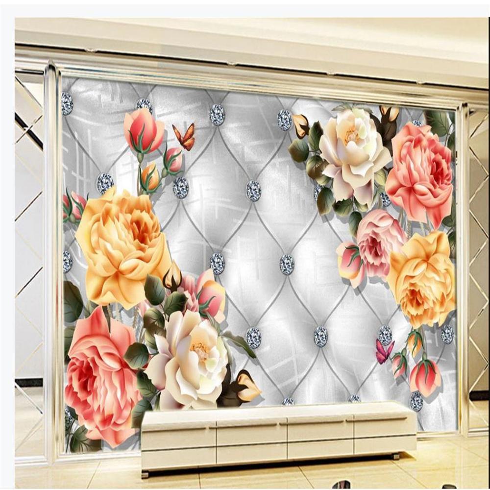 Benutzerdefinierte Blume 3d Tapeten Europäische weichen Rose Diamant Hintergrund Tapete moderne Tapeten für Wohnzimmer