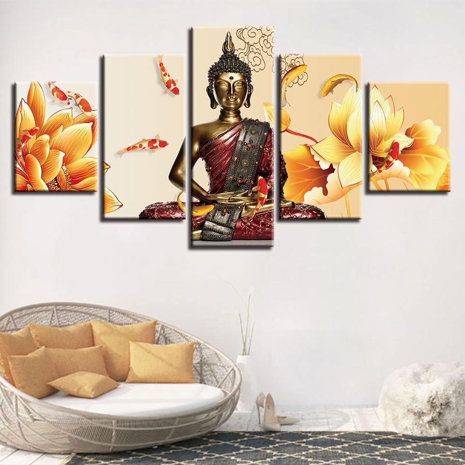 Искусство Картина Modular HD Printed Canvas Poster Framework 5 Панель Желтый цветок Будды Home Decor стене гостиной Фотографии