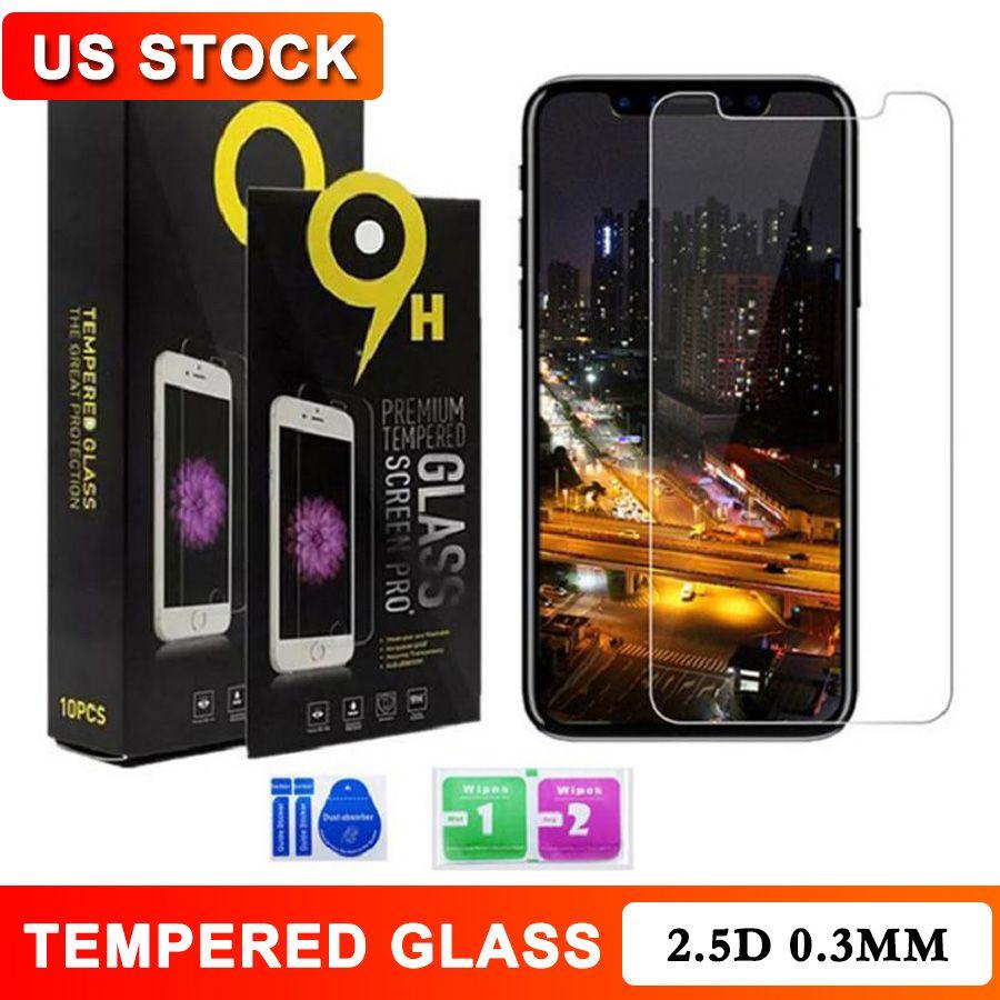 خفف من الزجاج 2.5D 9H شاشة 0.3MM حامي آيفون 12 12 12 البسيطة برو ماكس SE برو 11 ماكس X XS XR 7 8 6 6S زائد 10 في 1 مع صندوق البيع بالتجزئة