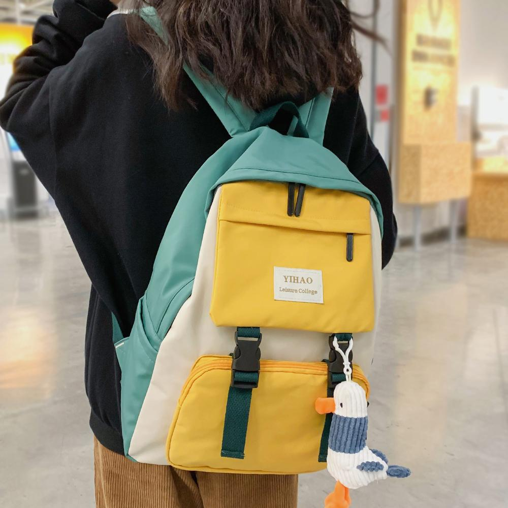 Women Harajuku Cute Backpack Nylon Student School Bag Laptop Ladies Kawaii Backpacks Girl Fashion Book Bags Female Trendy Travel Q1113