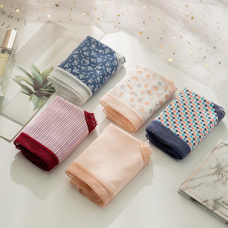 Baumwolle Frauen Unterwäsche drucken dünne mittlere taille slips mädchen niedlichen höschen spitze unterhosen1