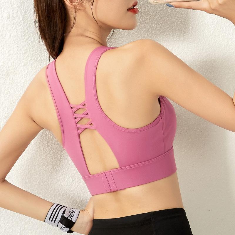 Mulheres Sports Bra Seamless Correndo Yoga Brassiere Workout Fitness Gym à prova de choque para Joggers Training Vest fivelas ajustáveis