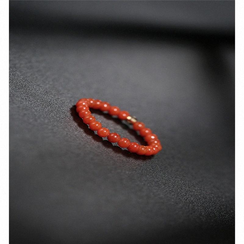 DMBS020 Liangshan Sud agata rossa anello femminile Giorno autentico giallo 18K Piccolo perline anello regalo e1Ul #